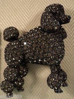 Signed-Swan-Swarovski-Gunmetal-Grey-Black-Diamond-Poodle-Brooch-Pin