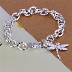 sterling silver dragonfly jewelry | Wholesale Sterling solid silver with dragonfly bracelet BH249+gift box ...