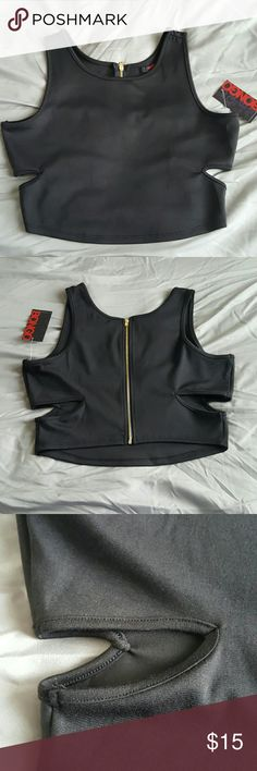 ☇FLASH☇Black Cut Out Crop Top FRONT: 93% Polyester / 7% Spandex (providing more stretch). 16 inches in length from shoulder to hemline.  BACK: 97% Polyester / 3% Spandex (less stretchy than front).  Gold zipper from top to bottom. 16 inches long from shoulder to hemline.  Sides: 4.25 inches of fabric from armpit to top of cut out. 3 inches of fabric from bottom of cut out to hemline. BONGO Tops Crop Tops