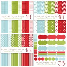Use these papers and elements in ALL of your personal & commercial projects! Here are a few ideas:  Gift Tags  Christmas Cards  Digital Scrapbook pages  Card and Print Design  Website and Blog backgrounds  .. and much more!