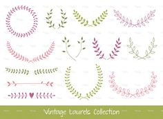 Vintage Laurel Branches and Wreaths Graphics Vector Laurels and WreathsZIP contains:- editable vector file - PNG file with transparent by Paper Cards Wreath Tattoo, Christmas Border, Typographic Logo, Free Vector Art, Vector File, Laurel Wreath, Color Vector, Paper Cards, Watercolor And Ink