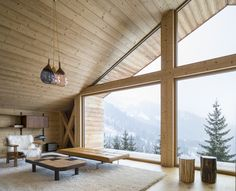 """International architectural firm Studio Razavi architecture designed Mountain House, a modern alpine chalet located in Manigod, France and completed in """"In this highly preserved Alpine valley… Mountain Cottage, Mountain Homes, Alpine Mountain, Alpine Chalet, Ski Chalet, Alpine Modern, Chalet Interior, Interior Design, Light Hardwood Floors"""