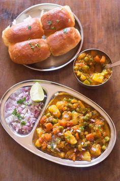 kada pav bhaji recipe with step by step photos. khada pav bhaji is a variation of the popular mumbai pav bhai and is also a served by the street food carts and outlets in mumbai. Goan Recipes, Veggie Recipes, Cooking Recipes, Healthy Recipes, Curry Recipes, Potato Recipes, North Indian Vegetarian Recipes, Easy Indian Recipes, Indian Snacks