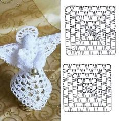 Crochet Angel Free Patterns &a Crochet Diy, Thread Crochet, Crochet Motif, Crochet Crafts, Crochet Doilies, Crochet Projects, Crochet Christmas Decorations, Crochet Ornaments, Holiday Crochet