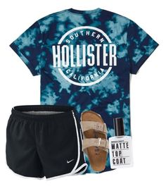 """QOTD: What's your favorite tv show?"" by artsycharrr ❤ liked on Polyvore featuring Hollister Co., NIKE and Birkenstock"