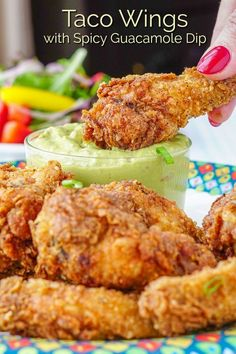 Taco Wings with Spicy Guacamole Dip. Taco Wings with Spicy Guacamole Dip. The perfect wings for Cinco De Mayo, Super Bowl or for any weekend get together with friends. Rock Recipes, Mexican Food Recipes, New Recipes, Favorite Recipes, Healthy Recipes, Healthy Breakfasts, Thai Recipes, Potato Recipes, Vegetable Recipes