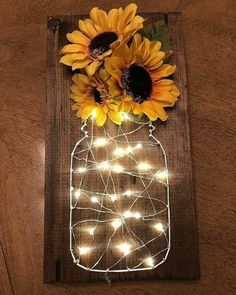 Sunflower fairy light stitch art – Diy Baby Deco – rustic home diy Sunflower Room, Sunflower Bathroom, Sunflower Crafts, Sunflower Decorations, Sunflower Kitchen Decor, Sunflower Wall Decor, Diy Wall Decorations, Home Crafts Diy Decoration, Sunflower Nursery
