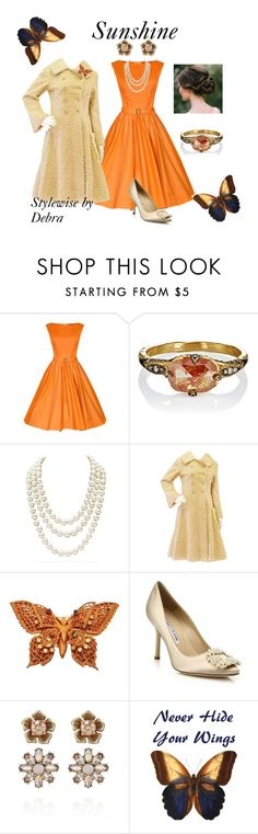 """Sunshine"" by stylewisebydebra ❤ liked on Polyvore featuring Cathy Waterman, Chanel, Miriam Haskell, Manolo Blahnik and Chloe + Isabel"