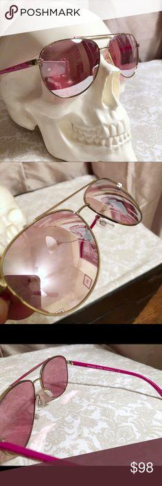 253055e763 MICHAEL KORS HVAR MK5007 Aviator sunglasses Fuchsia w  gold rims. Pink  mirrored lenses.