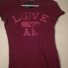 AE shirt Maroon and pink  No holes or stains strechy material American Eagle Outfitters Tops Tees - Short Sleeve