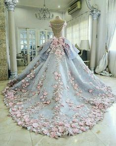 Luxury wedding gowns with florals,See more on http://www.JDsBridal.com/