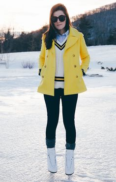 preppy cute ice-skating date outfit from Classy Girls Wear Pearls Preppy Girl, Preppy Style, Style Me, Winter Wear, Autumn Winter Fashion, Yellow Coat, Classy Girl, Look Chic, Girls Wear