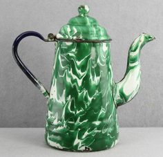 9in tall HTF green color ESTATE - ANTIQUE GREEN & WHITE ENAMELWARE AGATE GRANITE-WARE COFFEE POT