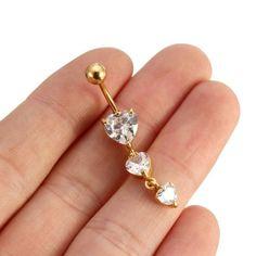 Ombligo del corazón del rhinestone del anillo del vientre de oro sexy cuerpo joyería piercing código(1034710)