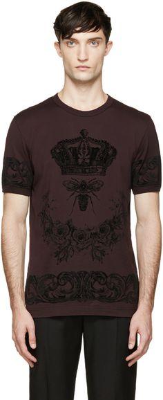Dolce & Gabbana Plum Bee & Crown Print T-Shirt