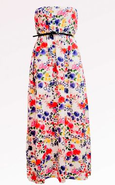 Strapless floral maxi dress.