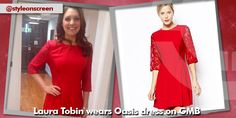 Where did Laura Tobin get her red skater dress from on Good Morning Britain - Style on Screen Red Skater Dress, Good Morning Britain, Dresses With Sleeves, Long Sleeve, How To Wear, Style, Fashion, Swag, Moda