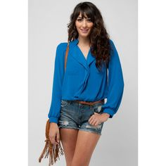 Everly Lepel Pocket Blouse. great color