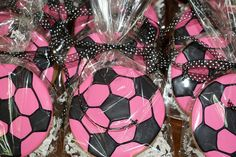 Pink Soccer Ball Cookies by Cookie Couture, LLC, via Flickr