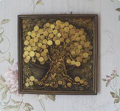 Декор предметов Картина панно рисунок Аппликация Волшебная коллекция  Бумага Монета Пуговицы фото 1