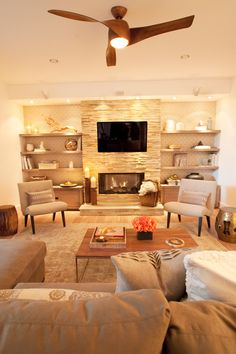 Looking for chunky wood shelf design as shelves next to stone fireplace, similar to this but dark wood