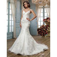 correas tribunal tren vestido de novia de tul trompeta / sirena (612405) - USD $ 220.49