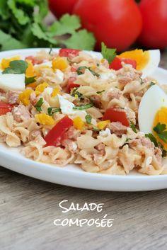 Salade de pâtes froides toute simple composée de thon, œufs, tomates, facile et rapide à préparer. #salade #pâtes #saladecomposée #healthy #recette #eatclean #thon #tomates #entrée #cuisine #facile