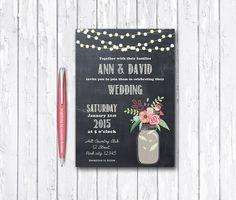 Mason Jar Wedding Invitation Printable Digital By Tranquillina