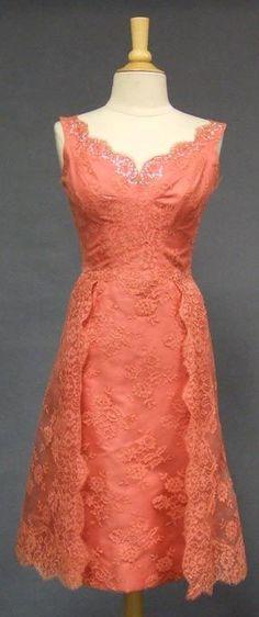 Vintage Salmon Lace Bombshell Cocktail Dress w/ Overskirt.I adore vintage dresses. Mode Vintage, Vintage Lace, Vintage Dresses, Vintage Outfits, Vintage Fashion, Lace Dresses, Dress Lace, Vintage Style, Casual Dresses