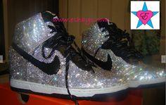 Bling Rhinestone Nike Dunk Sky Hi Wedge Sneaker - Eshays, LLC