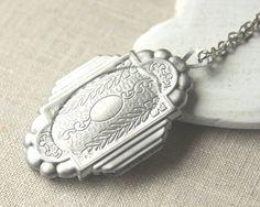Large Antiqued silver Locket secret message locket Necklace long chain photo locket Pendant dark silver locket jewelry gift her keepsake N25...