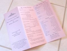 Kyonzte and DeAngelo loved our tri-fold wedding programs. With a Light pink metallic base and a light mint green wrap closure, the black . Elegant Wedding Programs, Printable Wedding Programs, Wedding Ideas, Funeral Invitation, Invitations, Invitation Templates, Light Mint Green, Unity Candle, Candles