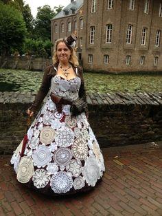 Susan's steampunk doilies dress - Elf Fantasy Fair/Elfia    I made a doilies dress from doilies from fleamarkets and friends for the Elf Fantasy Fair Arcen in the Netherlands