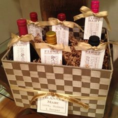 Neat way to wrap wine bottles, cidar or other drinks for special occasions. Wedding Shower Gifts, Wedding Gifts, Bridal Shower, Wedding Ideas, The Giving Tree, Wine Baskets, Engagement Gifts, Engagement Basket, Jar Gifts