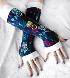 Catching Dreams Arm Warmers Navy Blue Yellow by ZenAndCoffee