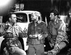 Marlon Brando, Montgomery Clift and Dean Martin on the set of the young lions (I LOVE this movie!)