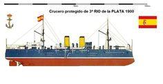 Perfiles navales.Crucero protegido de 3ª RIO de la PLATA1900