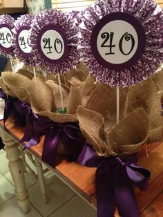 40th Birthday Party Centerpieces #handmade . mason jars . burlap . 40 . birthday . centerpieces