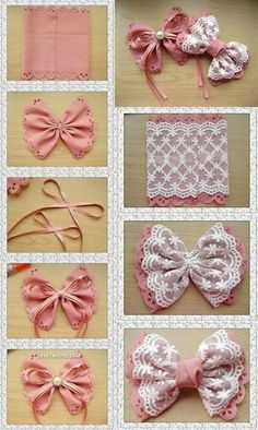 DIY lace bows <3 <3 Going to make these!