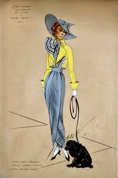 "Easter Parade. This sketch, by Virginia Fisher, signed by Irene, presents a design worn by one of the strolling women on the 5th Avenue ""Easter Parade"" scene."