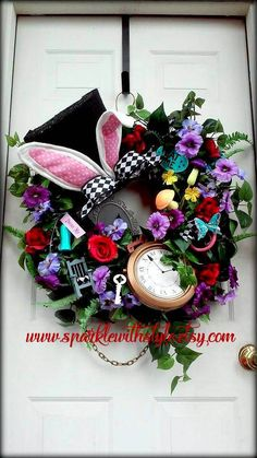 Your place to buy and sell all things handmade Mad Hatter Party, Mad Hatter Tea, Easter Wreaths, Christmas Wreaths, Disney Wreath, Deco Wreaths, Alice In Wonderland Tea Party, Wreath Crafts, Halloween Decorations