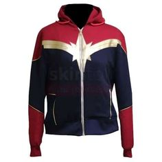 Ladies Captain Marvel Avengers Endgame Costume Leather jacket For Women's Vest Jacket, Hooded Jacket, Fleece Hoodie, Sweatshirt, Marvel Jacket, Captain Marvel Carol Danvers, Cool Hoodies, Womens Clothing Stores, Cotton Jacket