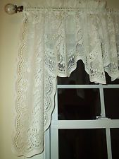 White Lace Swag Curtains | WHITE FLORAL LACE CURTAIN SWAG 28.5 Long X 60  Wide