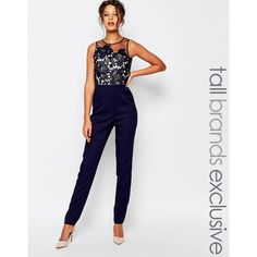 67667d34038 Little Mistress Tall Scallop Lace Tailored Jumpsuit With Floral Embroidery  - ShopStyle Pants