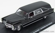 EDICOLA BONDCOL088 Skala: 1/43  CADILLAC HEARSE FUNERAL CAR CARRO FUNEBRE 1959 - 007 JAMES BOND - DIAMONDS ARE FOREVER - Skala:: 1/43 Zustand: M Code: BONDCOL088 Farbe: BLACK Material: Die-Cast