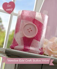 Valentine kids craft button votive