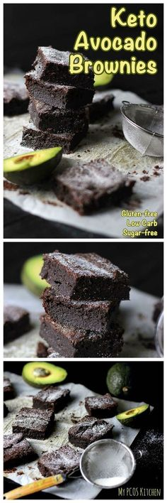My PCOS Kitchen – Keto Avocado Brownies – These fudgy chocolate brownies are gluten-free, sugar-free and low carb! via My PCOS Kitchen – Keto Avocado Brownies – These fudgy chocolate brownies are gluten-free, sugar-free and low carb! via My PCOS Kitchen Brownies Keto, Sugar Free Brownies, Chocolate Brownies, Vegan Avocado Brownies, Keto Fudge, Chewy Brownies, Healthy Brownies, Keto Cheesecake, Desserts Keto