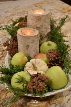 A Fall Centerpiece with Green Apples - Home with Holliday With fall comes an abundance of apples! Today, I am sharing a Fall Centerpiece with Green Apples that came from my own yard. Apple Decorations, Thanksgiving Decorations, Seasonal Decor, Thanksgiving Flowers, Rustic Thanksgiving, Decoration Bedroom, Decoration Table, Fall Home Decor, Autumn Home