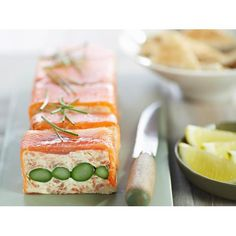 Smoked salmon and asparagus terrine recipe - By Australian Table Salmon Terrine Recipes, Smoked Salmon Terrine, Smoked Salmon Appetizer, Salmon And Asparagus, How To Cook Asparagus, Entree Recipes, Appetizer Recipes, Savoury Recipes, Gourmet