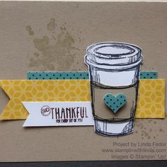 Thank You Coffee Cup Card with Stampin' Up! Perfect Blend Stamp Set/ www.stampinwithlinda.com